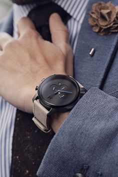 Chrono Gun Metal/Sandstone by MVMT Watches, the perfect everyday watches to gift this holiday season// Mvmt Watches, Luxury Watches, Cool Watches, Watches For Men, Black Watches, Casual Watches, Men's Accessories, Men Style Tips, Mens Fashion