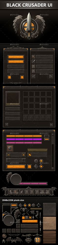 Black Crusader UI - User Interfaces Game Assets Free Game Assets, Ui Components, Game Logo Design, Colossal Art, Game Background, Corporate Flyer, Art Logo, User Interface, Game Art