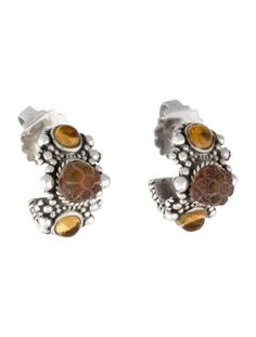 $140.00     Sterling silver Stephen Dweck mini hoop earrings with carved quartz drops, citrine cabochons and threaded post closures.