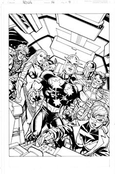 Nova #14 Splash w /New Warriors Comic Art