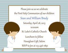 First Communion Invitation  Twins  Digital by SweetDesignsbyRegan, $12.00