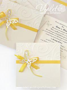 #butterfly #yellow #invitation from www.violet-weddinginvitations.com
