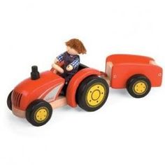 Pintoy 11561 Red Wooden Tractor Trailer With Farmer from Pintoy - Pintoy Toys £20.95