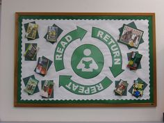 """""""Read Return Repeat"""" Bulletin Board by Geneva Designs, via Flickr This is the first bulleting board I helped with at Sage Valley Middle School. It was TIffany's idea, found in a catalog. We tacked actual books up along with the design. Fun Stuff."""