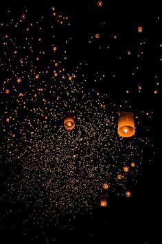 Chinese Wishing Lanterns at Loy Krathong Festival, Chiang Mai, Thailand