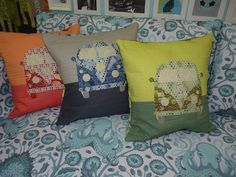 Coastal Cruiser Throw Pillow featuring Salt Water by Tula Pink FREE pattern