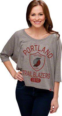 Portland Trail Blazers Women's Marshall Loosefit Tri-Blend Top - Athletic Grey