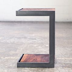 $575 Suspended Wood and Metal End Table Modern Industrial Design