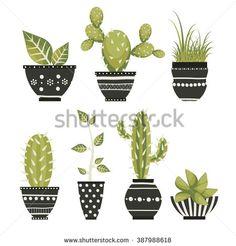 Cute cacti, flowerpots. Vector set