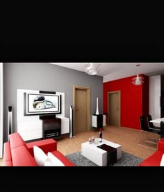 Living Room Designs, Cool Picture Black And Red Living Room Decoration  Ideas Good Large Tv Timber Floor Varnished Good White Black Square Ta.