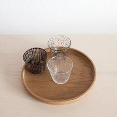 Round chestnut tray by Tomii Takashi, and 3 glasses by Tsuji Kazumi.