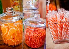 Candy Displayed in #ApothecaryJars and clear #vases is an easy way to add color to your #party theme.