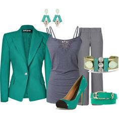 """""""Teal and Gray Outfit"""" by hread on Polyvore"""