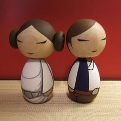 Star Wars wedding cake toppers: Hand-painted Han and Leia Kokeshi dolls