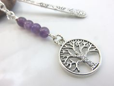 Amethyst bookmark  silver metal bookmark  tree by GonzalezGoodies