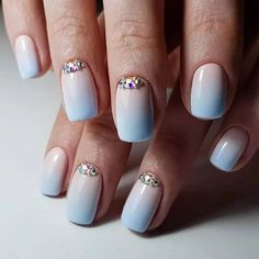 White and Sky Blue Ombre Square Nails Line Nail Designs, Butterfly Nail Designs, Diamond Nail Designs, Gold Nail Designs, Classy Nail Designs, Fall Nail Art Designs, Diamond Nails, Gold Nails, Diamond Design