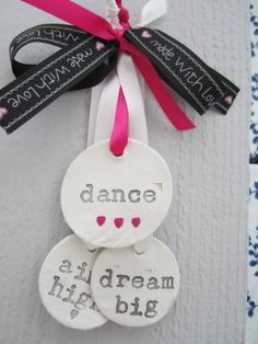 Ceramic circles tied with beautiful ribbon for by henryoscar, £8.00