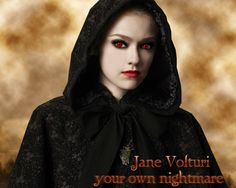 Dakota Fanning as Jane, one of the Twilight saga's vampire 'royals' - known to have the ability to create illusions of pain.  #twilight #volturi #coloredcontacts  http://www.youknowit.com/online-shop/twilight-volturi-vampire-contact-lenses.cfm