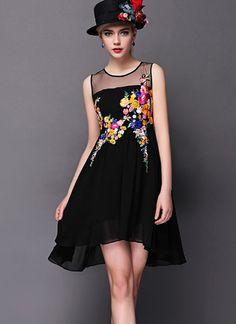 Vestido combinado gasa-negro EUR€21.32