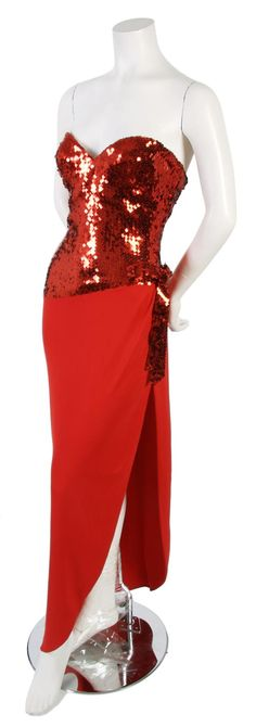 75822cfd3732 A Loris Azzaro Red Crepe Silk and Sequined Strapless Gown, Azzaro,  Strapless Gown,