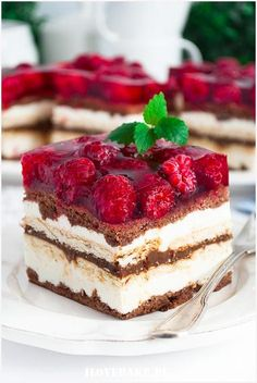 Ciasto Balladyna - I Love Bake Dessert Cake Recipes, No Cook Desserts, Delicious Desserts, Yummy Food, Chocolate Fudge Cake, Just Cakes, Sweet Cakes, No Bake Cake, Nutella