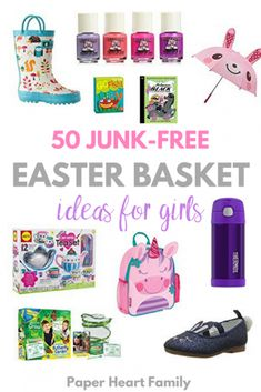 Easter basket stuffers: Over 50 Easter basket fillers for kids, especially girls, that they will love and that YOU will love too. Junk-free, candy-free Easter basket ideas that won't clutter your house! Easter Baskets For Toddlers, Easter Gifts For Kids, Easter Crafts, Tween Easter Basket Ideas, Baby Easter Basket, Easter Stuff, Easter Decor, Kids Crafts, Boyfriend Crafts
