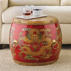 Buy Ceremonial Drum Table, Red online at Gump's