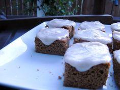 Paleo pumpkin cake bars with cinnamon icing
