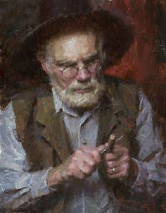 """The Whittler"", by American artist - Morgan Weistling (1964 - ), Oil on canvas"