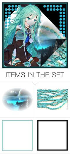 """""""Abstract Anime"""" by beanpod ❤ liked on Polyvore featuring art, Blue, anime, teal and abstract"""