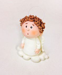 Paso-a-paso-angel-lateral Cake Decorating With Fondant, Fondant Decorations, Christmas Topper, Christmas Ornaments, Biscuit, Fondant Toppers, Cakes For Boys, Polymer Clay Crafts, Doll Crafts