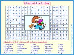 Me encanta escribir en español: El material de la clase (Sopa de letras)