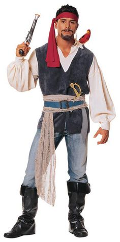 male pirate with blue jeans  sc 1 st  Pinterest & diy pirate costume | Mens Pirate Costumes | Adults Pirate Halloween ...