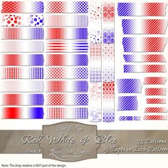 360 pieces of red, white & blue digital tape (24 patterns in 15 different sizes) Files are PNG with a transparent background.  The tapes are great for blogging, scrapbooks, cards, invitations, and more... $4.75 #digital, #tape, #washi, #patterns, #chevron, #checks, #stripes, #polka dots, #damask, #Moroccan, #argyle, #red, #blue, #white, #scrapbooking, #cards