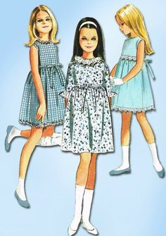 1960s Vintage Helen Lee Girl's Dress 1968 McCall's Sewing Pattern 8191 Sz 10 #McCalls