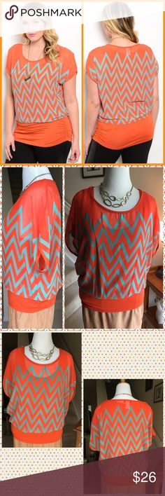 Orange/Mint Chevron Top Super versatile short sleeve top features attached tank underneath and a wide banded hem with ruched sides. ✨Perfect for slacks or skirt✨Made in USA100% Poly True to size ✳️PRICE FIRM UNLESS BUNDLED✳️NO TRADES✳️ LDB Tops Blouses