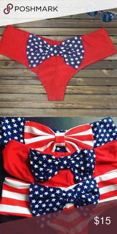 NEW Red with star bow bikini bottom ❤🇱🇷 New cheeky American flag print bikini bottoms in small and New from my bikini shop. Bow on the back super cute ! A summer must have ! This listing is for 1 bottom, bundle for more and save :) also available in boyshort style, perfect for the Fourth of July ! Swim Bikinis