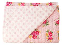 Alimrose Millie Reversible Cot Quilt - Pink Rose - Gorgeous floral pink cot quilt that is reversible 100cm x 120cm