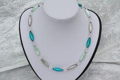 Ketten kurz - Kette Collier Polaris petrol hellgrün türkis grau - ein Designerstück von trixies-zauberhafte-Welten bei DaWanda
