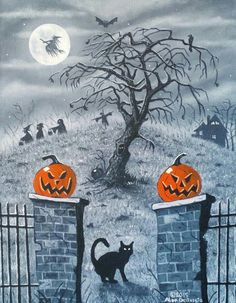 Halloween night and like OMG! get some yourself some pawtastic adorable cat apparel! Halloween Artwork, Halloween Scene, Halloween Painting, Halloween Horror, Halloween Cat, Halloween Night, Holidays Halloween, Halloween Themes, Happy Halloween