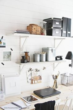 Workspace Storage | Ideas & Inspiration -shelves -electric tape pin ups -wire bins