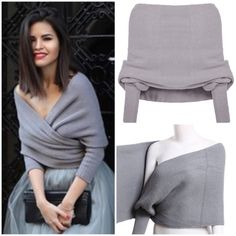 Grey off the shoulder crop knit sweater A sexy and versatile knit sweater. Perfect for the off-the-shoulder trend. Long sleeve. Totally length 25cm. One-size. Style it whatever way you like. There's endless possibilities! Brand new item. Sheinside Sweaters