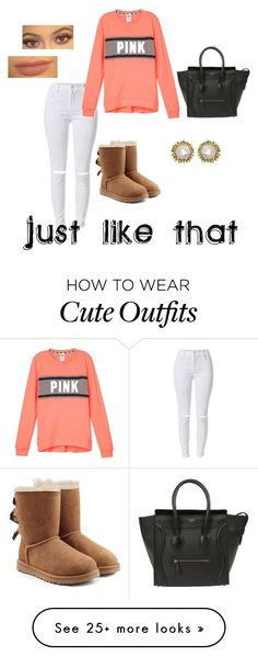"""Quick,cute,easy outfit❣"" by iylajade on Polyvore featuring UGG Australia, Kendra Scott, CÉLINE, women's clothing, women, female, woman, misses and juniors"