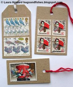 Old Christmas stamps make great DIY gift tags --- Bugs and Fishes by Lupin: Gift Wrap Ideas # Vintage Stamps Old Stamps, Vintage Stamps, Christmas Tag, Christmas Crafts, Gift Wrapping Tutorial, Postage Stamp Art, Old Fashioned Christmas, Stamp Collecting, Gift Tags