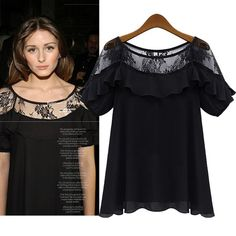 Summer Round Neck Lace Splicing Short Sleeve Blouse