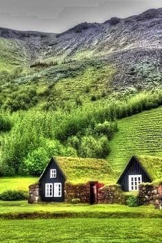 """SUDURLAND, Traditional turf farmhouses in Skogar, Iceland (musée folklorique). - SKOGAR est une commune de la municipalité de RANGARTHING EYSTRA située au S de l'île. En 2007, le village comptait 25 habitants. le nom du village, qui signifie """"de forêt"""" implique qu'il y eut autrefois plus d'arbres qu'aujourd'hui et que Skogar a été construit sur un site autrefois forestier. D'ailleurs depuis quelques années, dans le village comme partout dans l'île, un programme de reboisement est encours."""