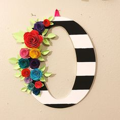 Nursery Wall decor black and white striped letter O with