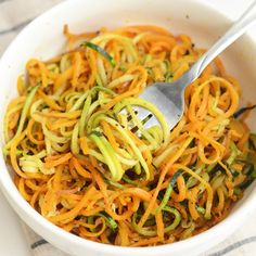 Tons of spiralized tastiness.  Roasted, Easy, Herby Spiralized Vegetables + 13 More Spiralized Recipes!