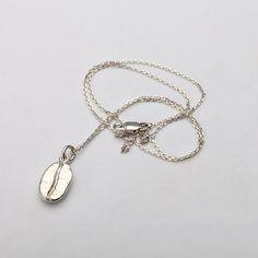 Silver Coffee Bean Necklace Coffee Jewelry by fangjewelrystudio #coffeebeans