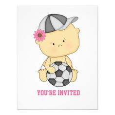 Cute Personalized Girl Soccer Baby Shower Invitations.